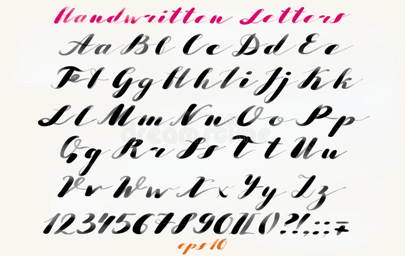 Fuente dibujada mano caligráfica Alfabeto manuscrito en estilo elegante del cepillo Escritura moderna en vector Artístico dibujad ilustración del vector