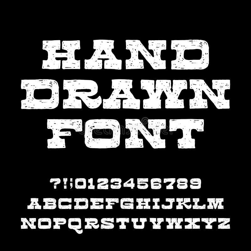 Fuente dibujada mano del alfabeto Letras y números apenados del vintage ilustración del vector