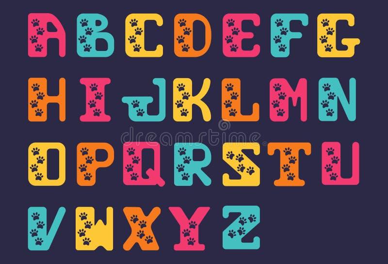 Fuente dibujada mano latina del alfabeto de Sanserif de letras intrépidas capitales Alfabeto estilizado con los rastros de animal stock de ilustración