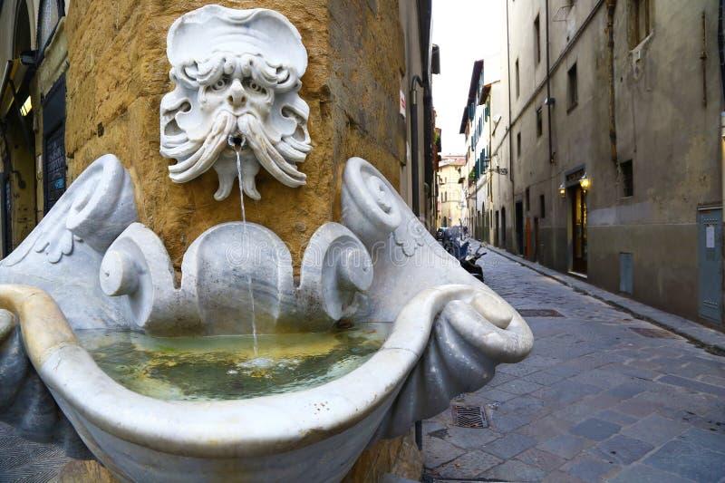 Fuente divertida vieja en Florencia, Italia fotos de archivo