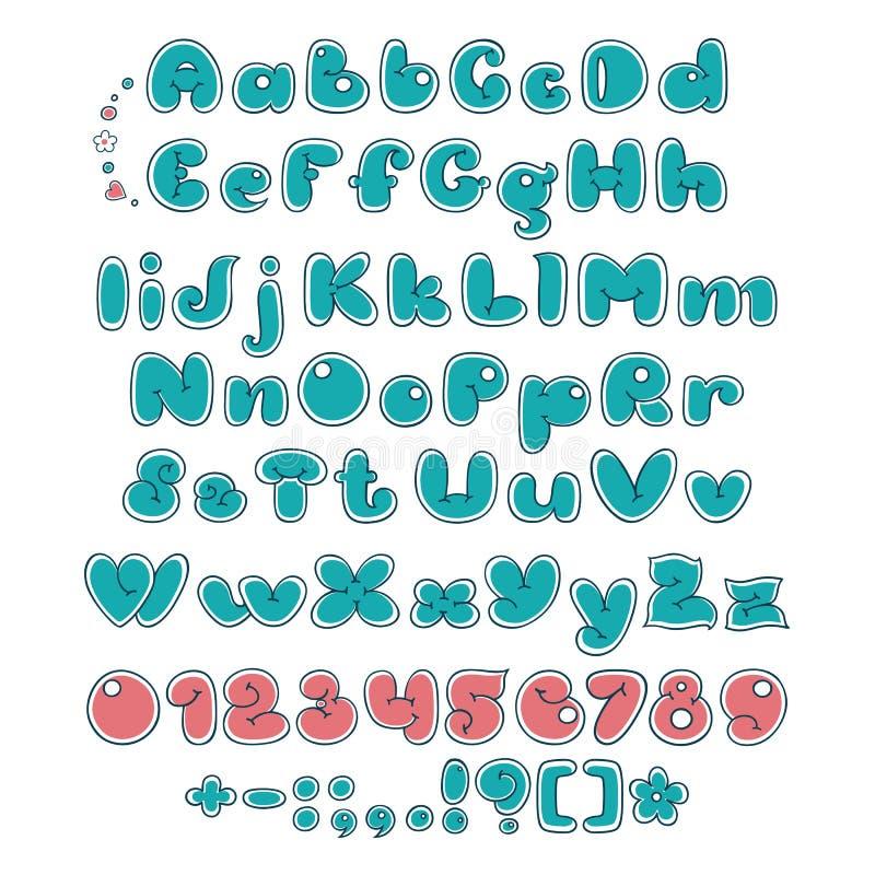 Fuente doble de la burbuja Alfabeto cómico Fuente de la historieta de la exhibición libre illustration