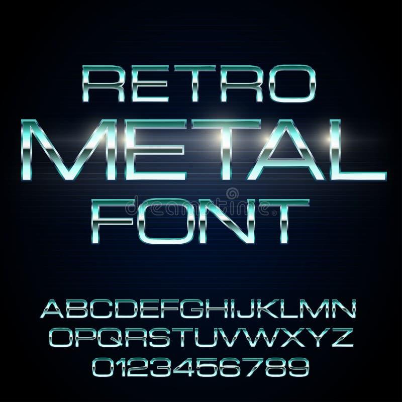 Fuente elegante del metal ilustración del vector