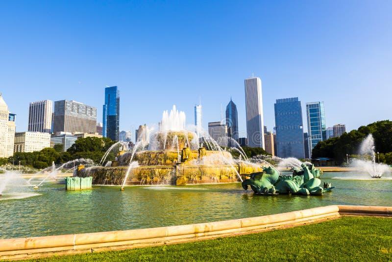 Fuente en Chicago céntrica imagen de archivo