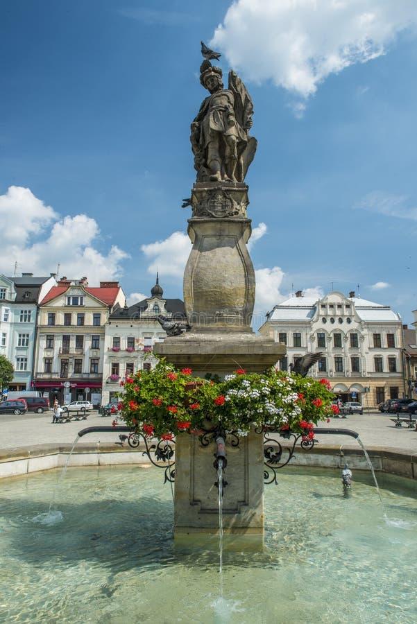Fuente en Cieszyn, Polonia fotografía de archivo libre de regalías