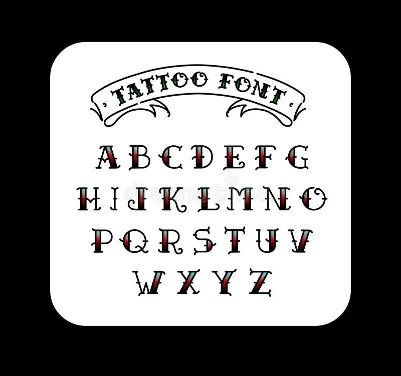 Fuente en el estilo del tatuaje de la escuela vieja Alfabeto para los tatuajes Letras del contorno con un terraplén Un sistema de stock de ilustración