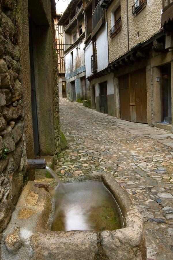 Fuente en el La Alberca, Salamanca fotos de archivo