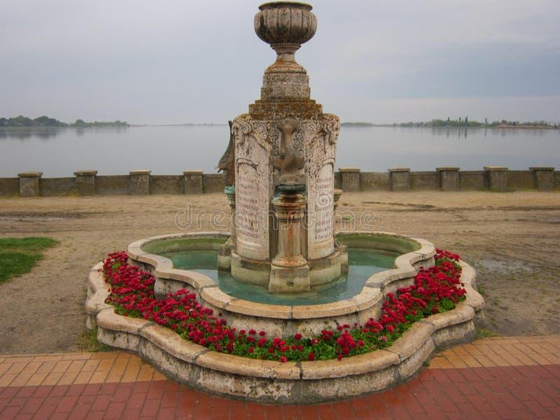Fuente en el lago Palic fotografía de archivo libre de regalías