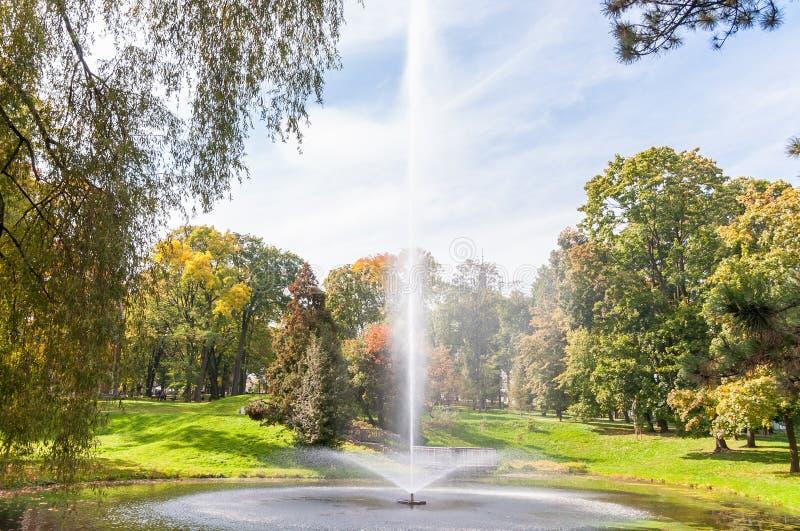 Fuente en el parque imagenes de archivo