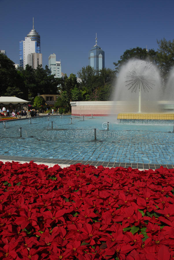 Fuente en el parque de Hong-Kong fotos de archivo libres de regalías