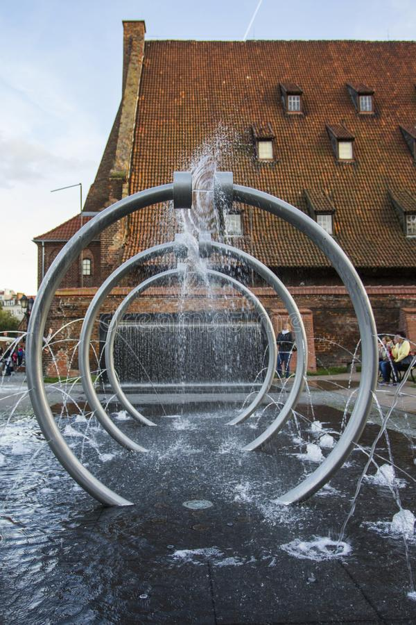 Fuente en Gdansk polonia foto de archivo