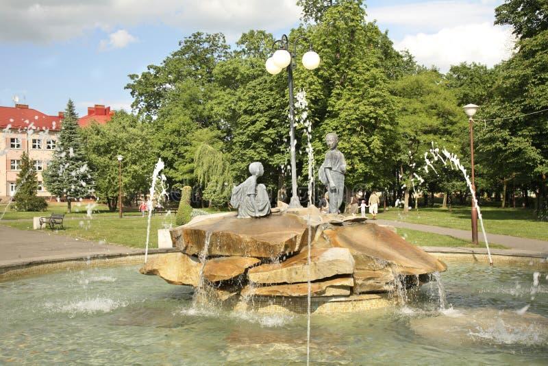 Fuente en Janow Lubelski polonia imagenes de archivo