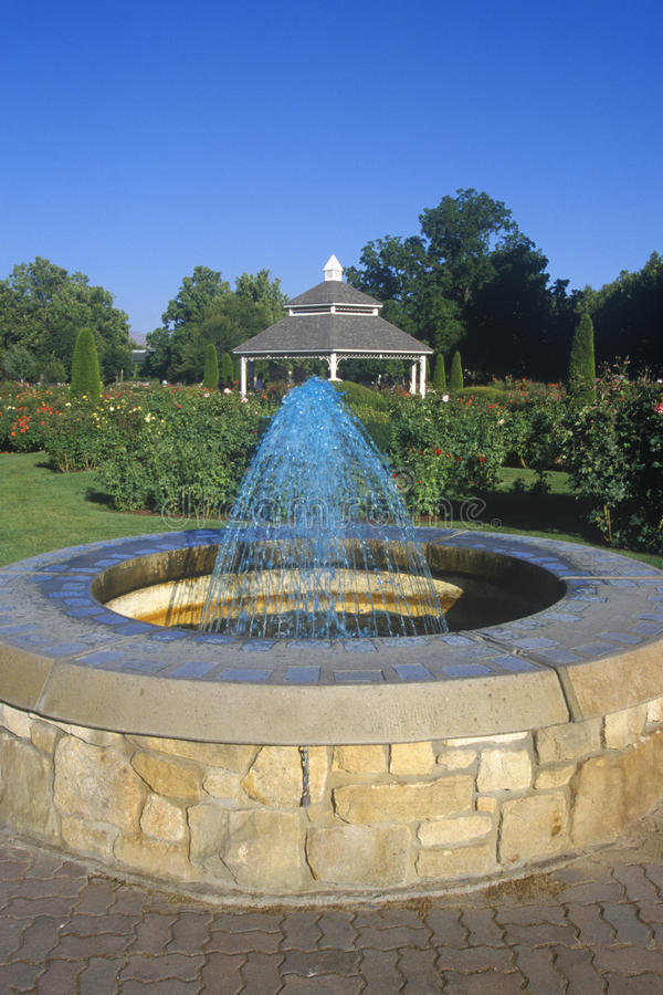 Fuente en Rose Garden con el Gazebo, Boise, identificación fotografía de archivo