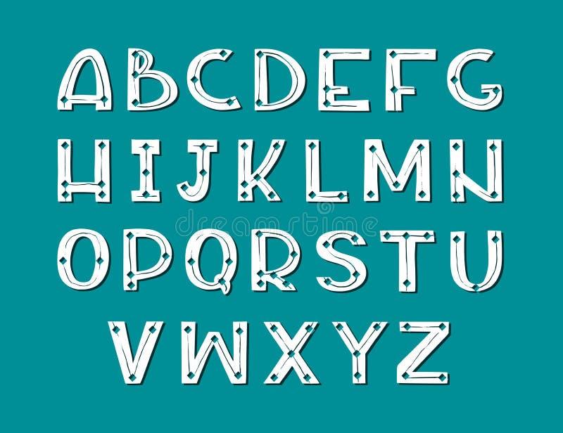 Fuente escandinava exhausta del arte de la mano Alfabeto blanco en fondo oscuro ilustración del vector