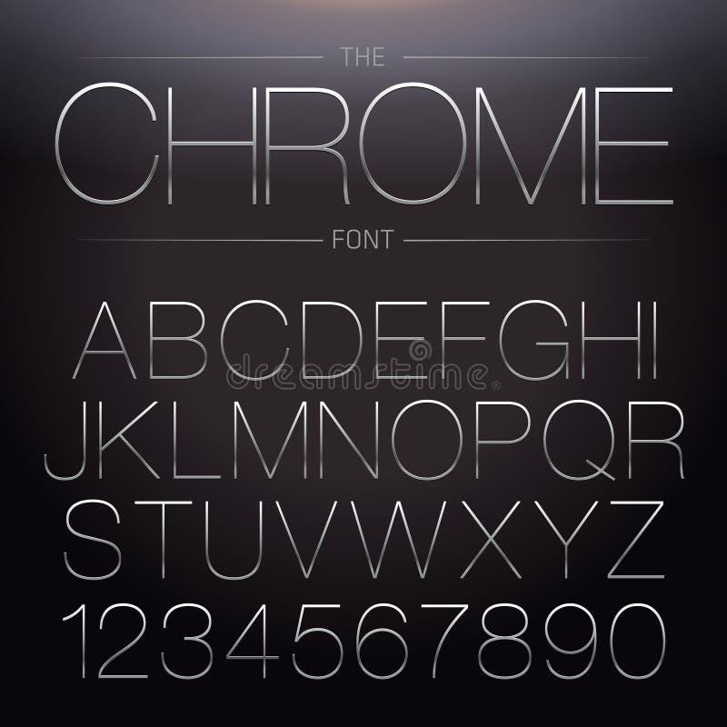 Fuente fina de Chrome stock de ilustración