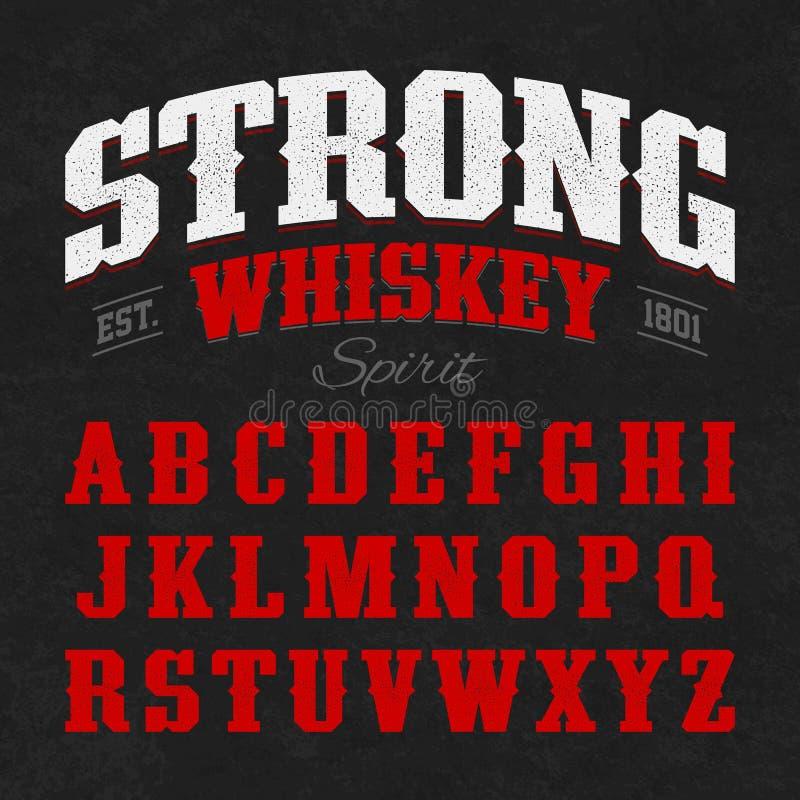 Fuente fuerte de la etiqueta del whisky con diseño de muestra stock de ilustración