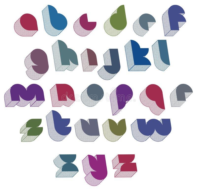 fuente futurista 3d con el buen estilo, alphab formado simple de las letras libre illustration