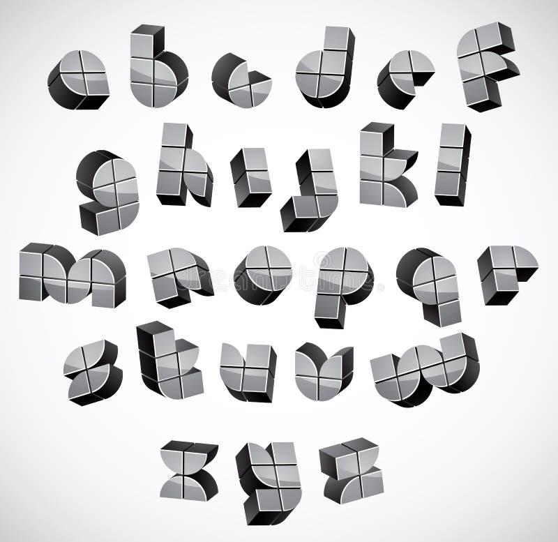 fuente futurista 3d hecha con las cajas, geométricas ilustración del vector