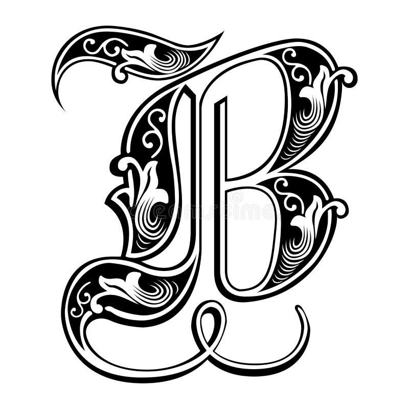 Fuente gótica adornada del estilo, letra B ilustración del vector