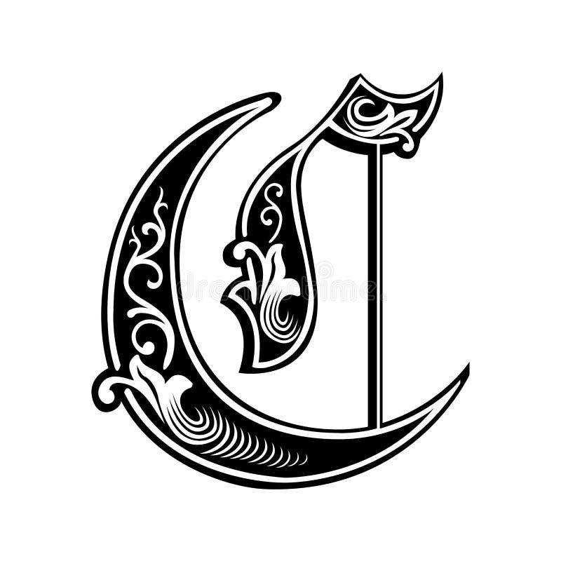 Fuente gótica adornada del estilo, letra C ilustración del vector