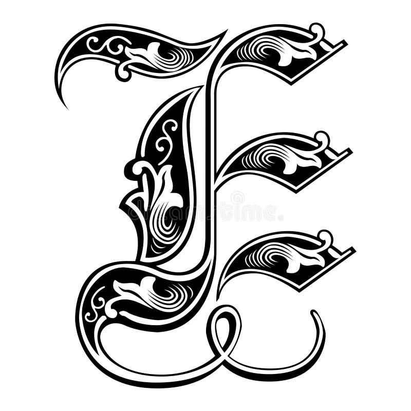 Fuente gótica adornada del estilo, letra E libre illustration