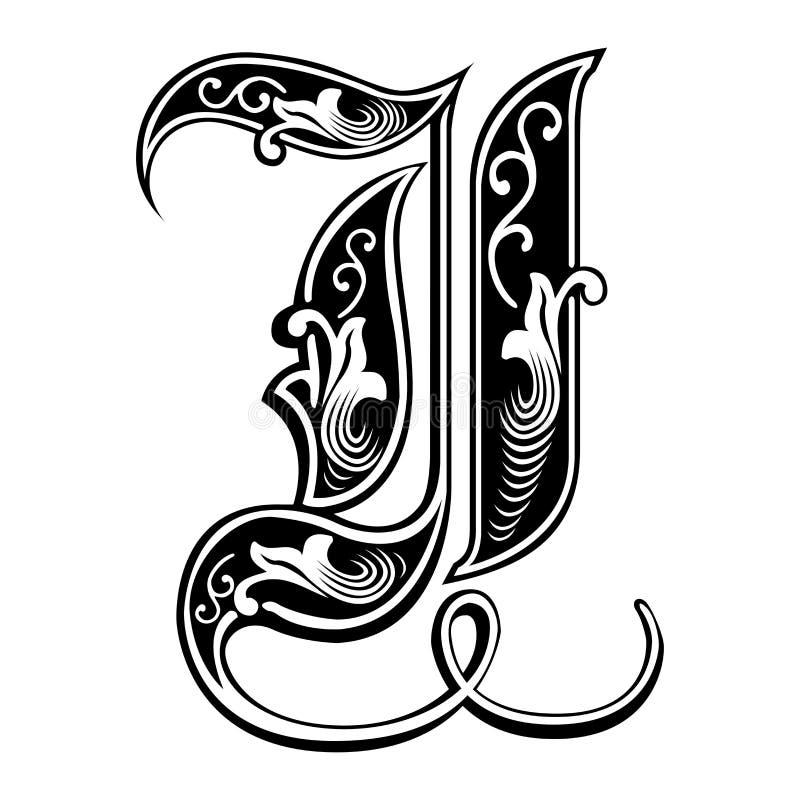 Fuente gótica adornada del estilo, letra I libre illustration