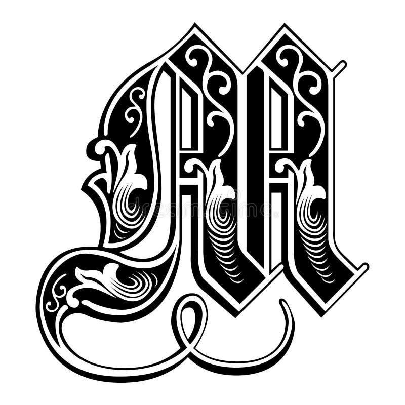 Fuente gótica adornada del estilo, letra M libre illustration