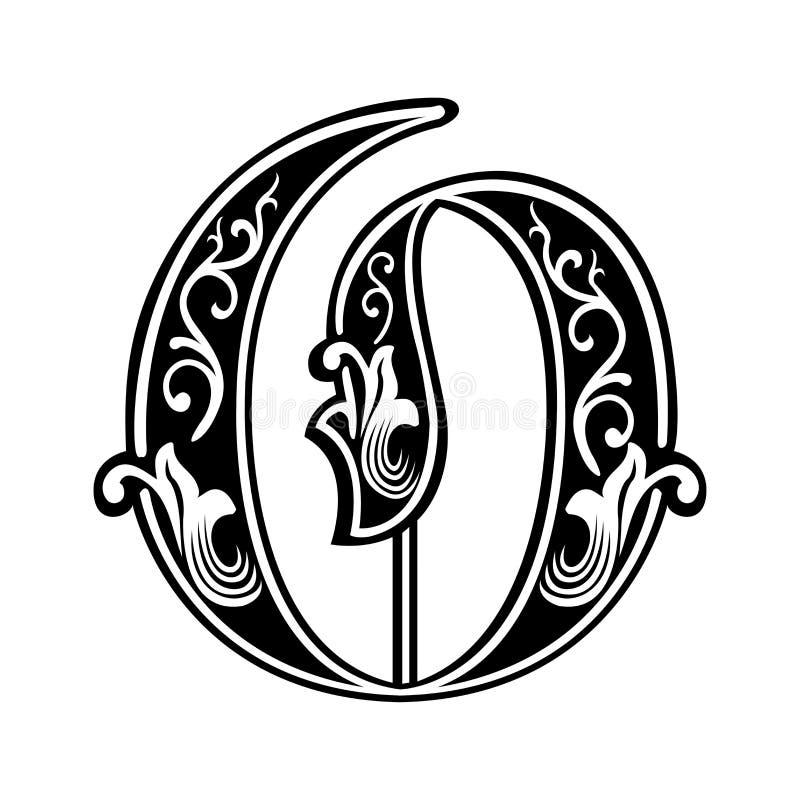 Fuente gótica adornada del estilo, letra O libre illustration