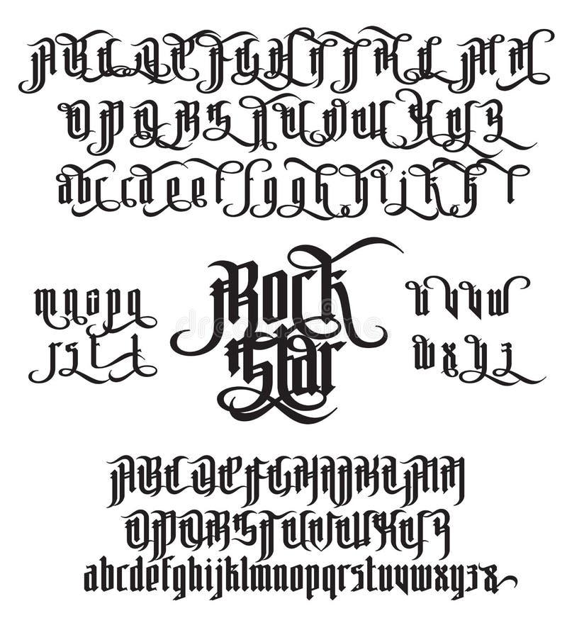 Fuente gótica de la estrella del rock libre illustration