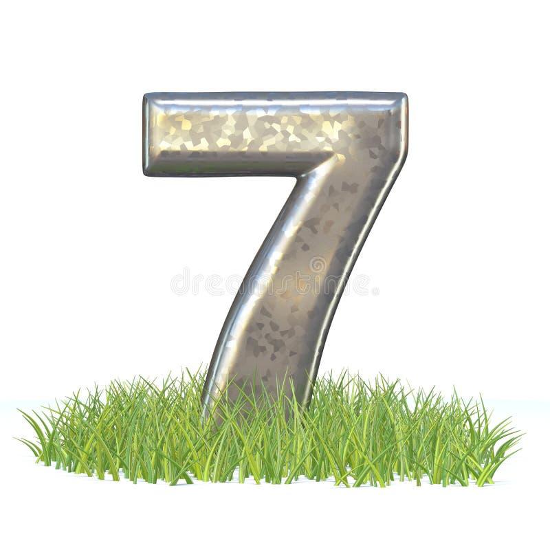 Fuente galvanizada número SIETE 7 del metal en la hierba 3D stock de ilustración