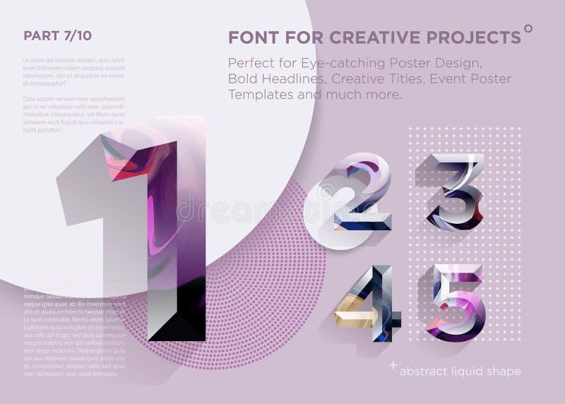 Fuente geométrica abstracta simple Perfeccione para los títulos intrépidos, diseños del cartel, títulos creativos, plantilla del  stock de ilustración
