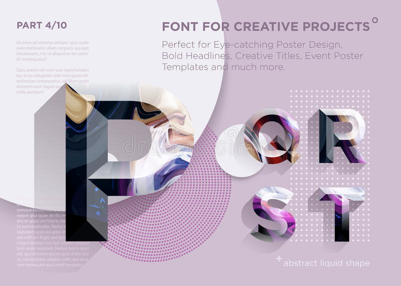 Fuente geométrica abstracta simple Perfeccione para los títulos intrépidos, diseños del cartel, títulos creativos, plantilla del  ilustración del vector