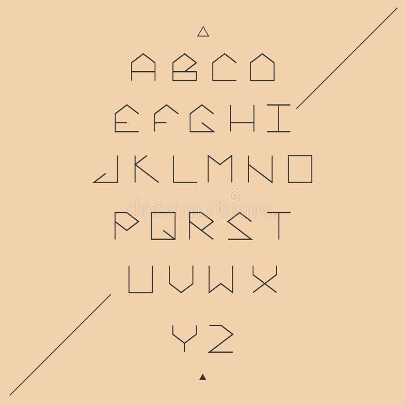 Fuente geométrica de los lineales de sans serif stock de ilustración