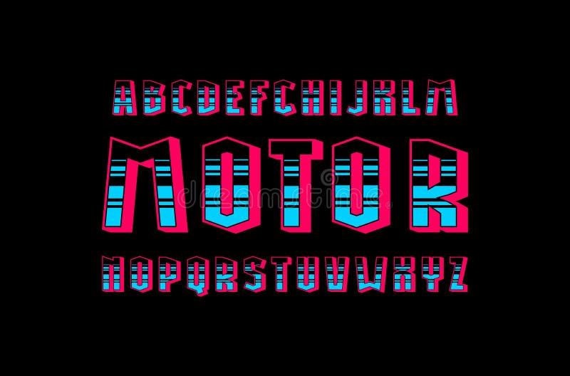 Fuente geométrica decorativa del bulto de sans serif ilustración del vector