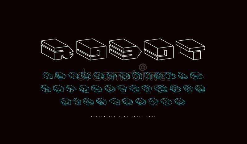 Fuente geom?trica del bulto de sans serif del wireframe stock de ilustración