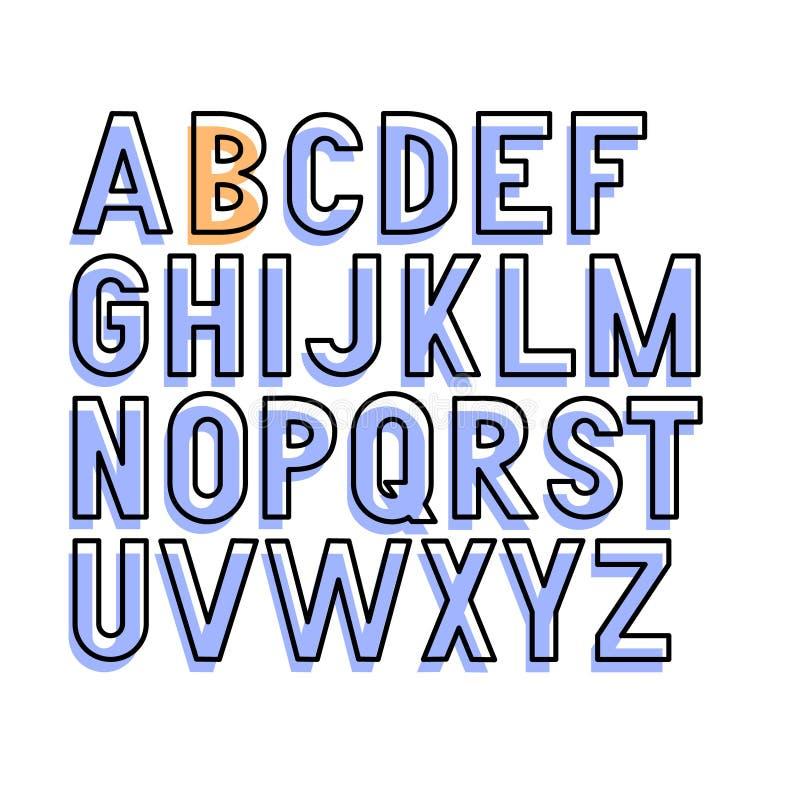 Fuente grotesca condensada intrépida del vector Letras mayúsculas solamente Sombras coloreadas Carteles, tipografía de las impres libre illustration