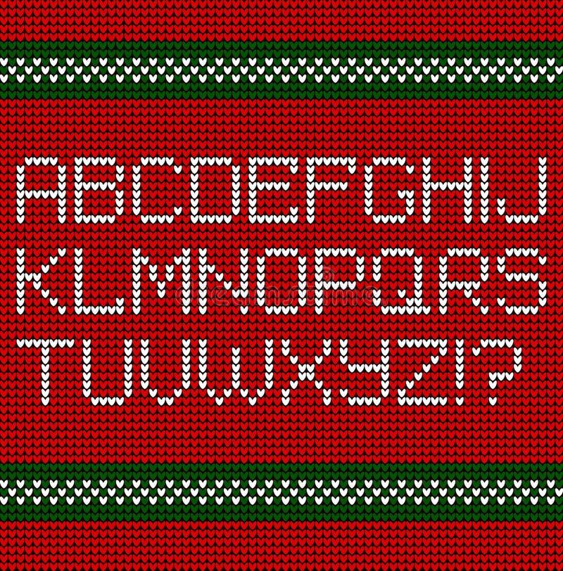 Fuente hecha punto la Navidad, alfabeto latino ilustración del vector