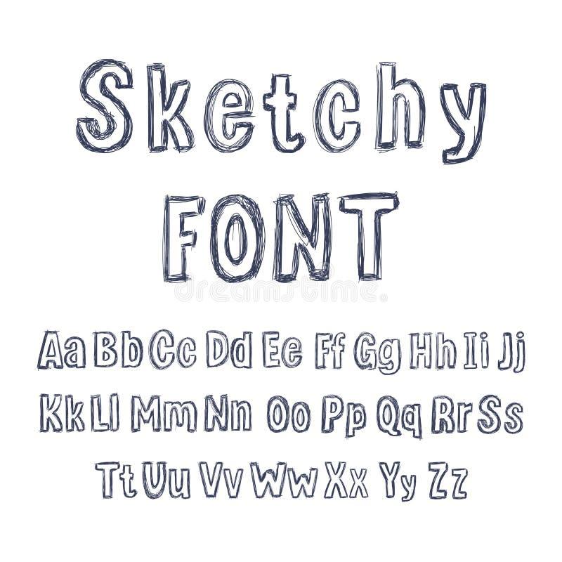 Fuente incompleta dibujada mano del vector, dibujos de lápiz aislados, letras fijadas libre illustration