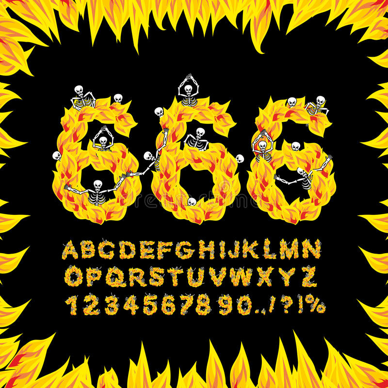 fuente 666 Infierno ABC Letras del fuego Pecadores en Gehenna ardiente Infe stock de ilustración