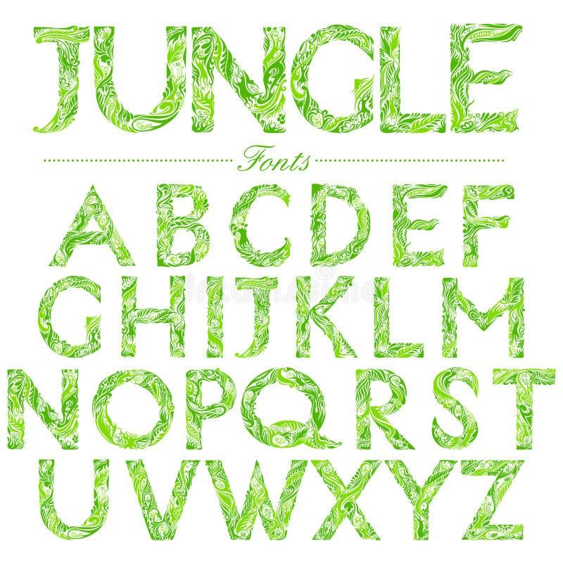 Fuente inglesa en remolino del estilo de la selva ilustración del vector