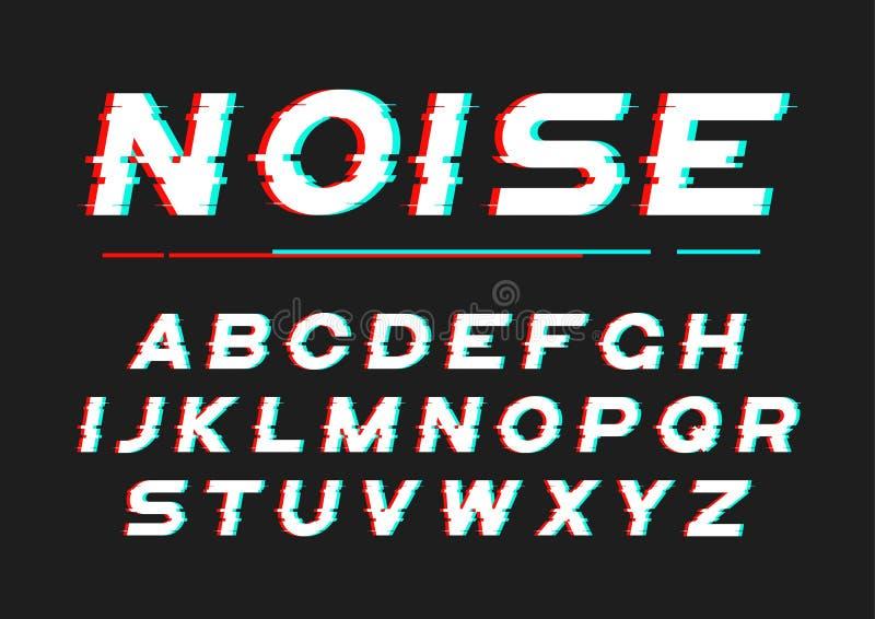 Fuente intrépida decorativa con el ruido digital, distorsión, effe de la interferencia libre illustration