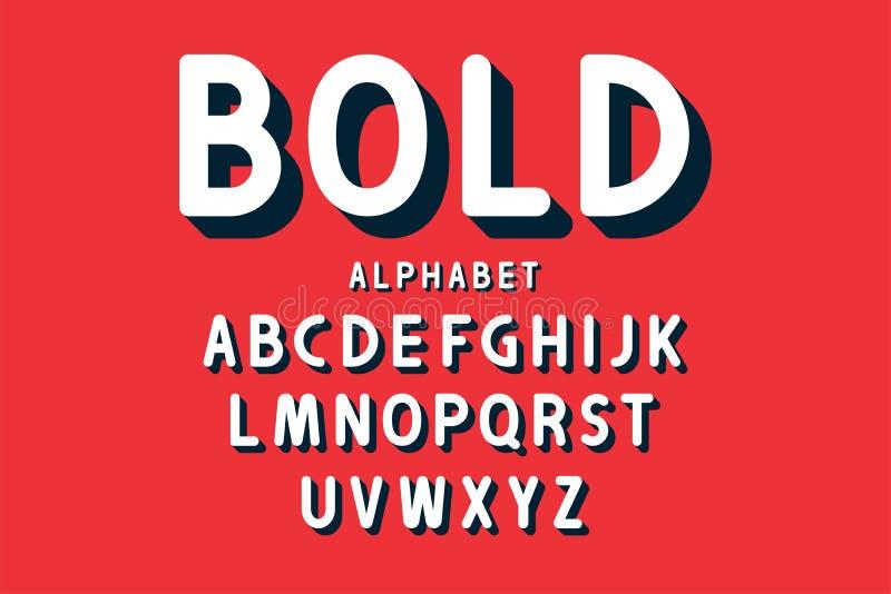 Fuente intrépida retra y alfabeto Letras redondeadas con las sombras largas en estilo retro Tipografía del vintage libre illustration