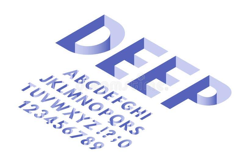 Fuente isométrica del agujero Números de las letras del alfabeto de la tipografía de los agujeros profundos, de fuentes 3d y sist stock de ilustración