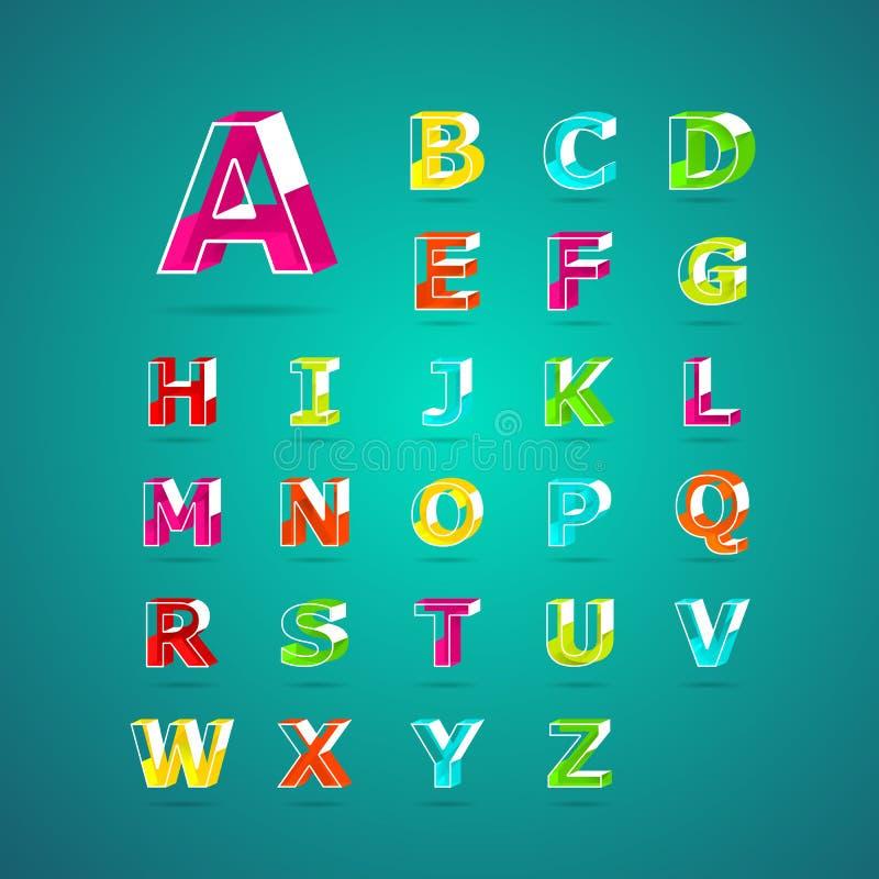 Fuente isométrica del alfabeto Mayúscula A a Z ilustración del vector