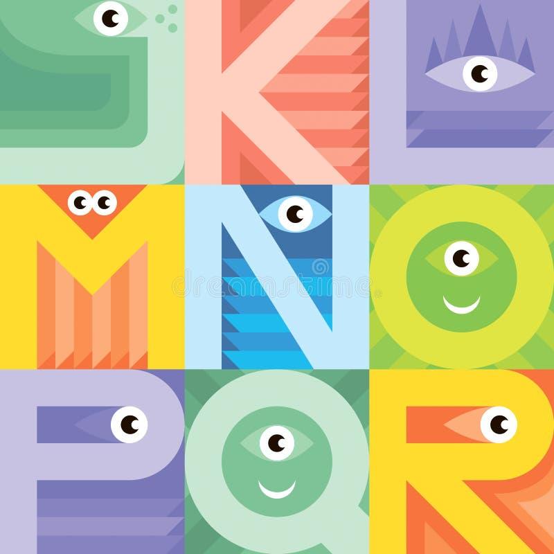 Fuente J K L M N O P Q R del monstruo stock de ilustración