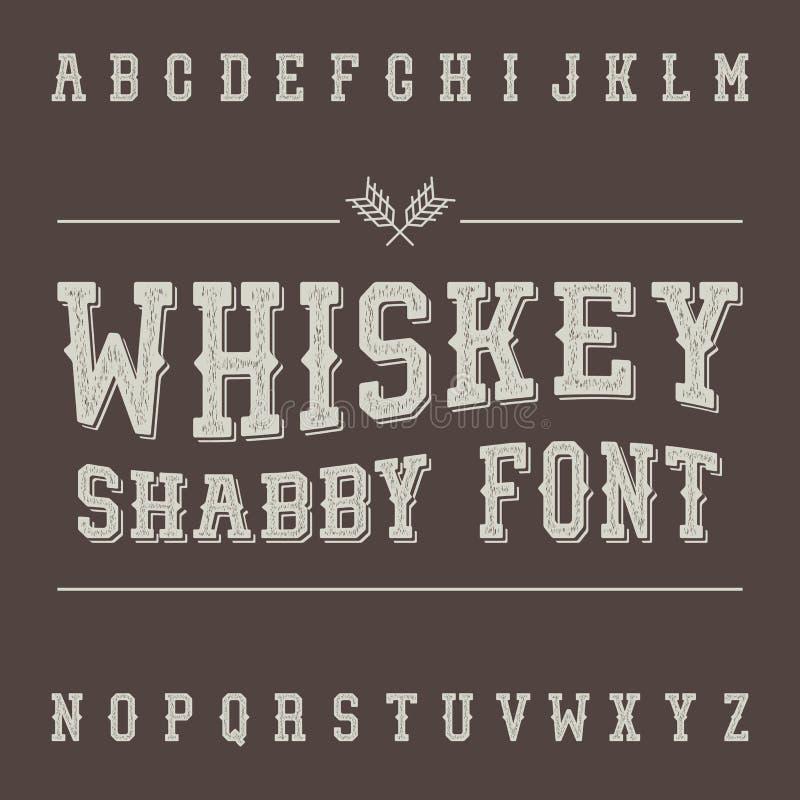Fuente lamentable del whisky del vintage Diseño de la etiqueta de la bebida del alcohol ilustración del vector