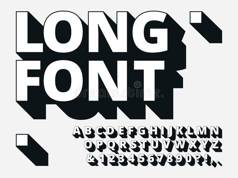 Fuente larga de la sombra Alfabeto retro de la intrepidez 3d, vieja negrita y tipo fresco vector del inconformista de la tipograf libre illustration