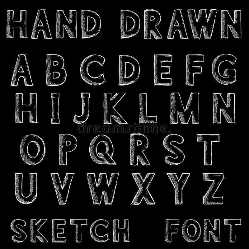 fuente Letras del alfabeto en estilo sucio del grunge Bosquejo dibujado mano en fondo negro stock de ilustración