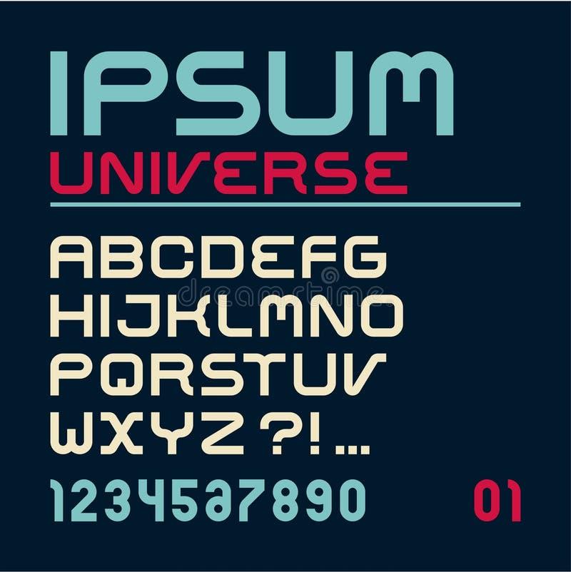 fuente Letras del alfabeto latino Alfabeto Fuente geométrica moderna para hacer publicidad, el título o el diseño del logotipo stock de ilustración