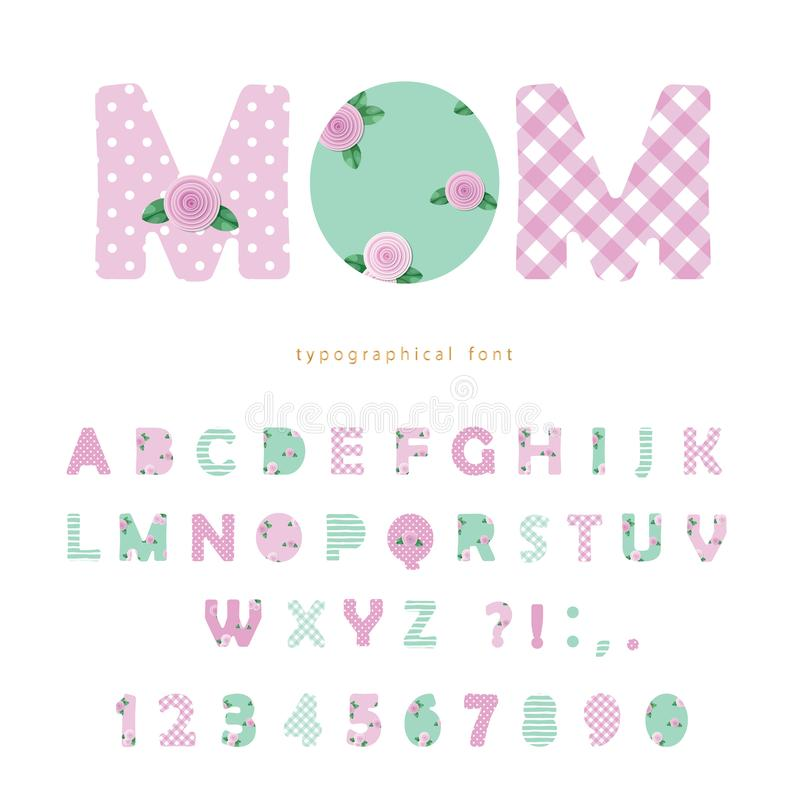 Fuente linda de la materia textil en rosa en colores pastel y azul Para el día de madre, el cumpleaños, fiesta de bienvenida al b libre illustration