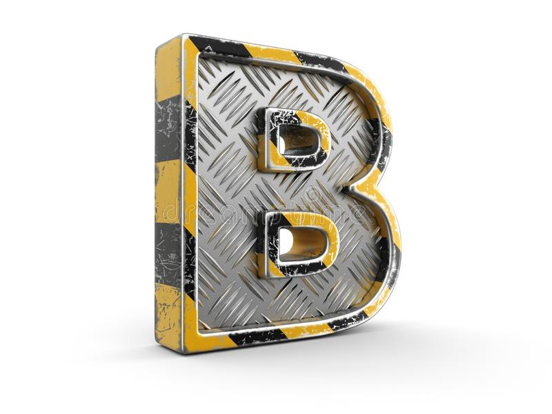 Fuente metálica rayada negra y amarilla industrial - letra B Imagen con la trayectoria de recortes stock de ilustración